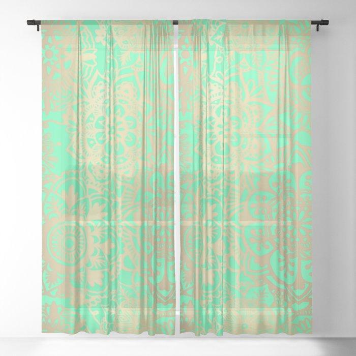 Spring Green and Gold Mandala Pattern Sheer Curtain