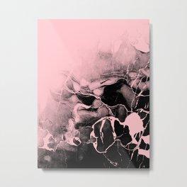 Black Marble and Pink Metal Print