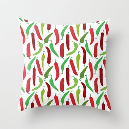New Mexico Christmas Hatch Chiles in White Throw Pillow