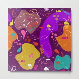 Mid Century Modern With Sea Life Metal Print