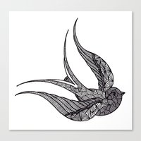 swallow Canvas Prints featuring SWALLOW by silb_ck