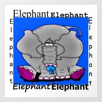 baby elephant Art Prints featuring Elephant(Baby) by Vivian Fortunato
