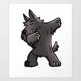 Funny Dabbing Scottish Terrier Dog Dab Dance Art Print