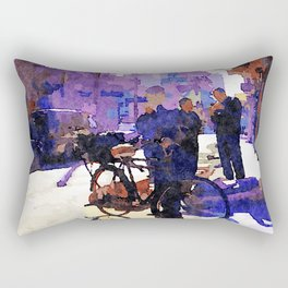 Boy with bicycle in Aleppo Rectangular Pillow
