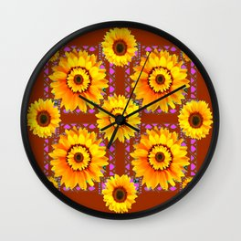 CINNAMON COLOR YELLOW SUNFLOWERS ART Wall Clock