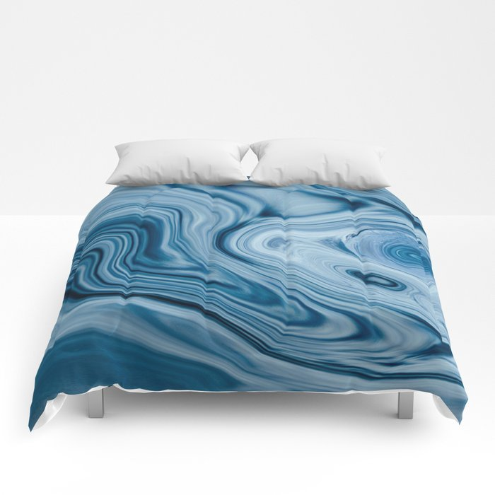 Splash of Blue Swirls, Digital Fluid Art Graphic Design Comforters