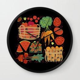 Farmers Market Veggies on Black_Robin Pickens Wall Clock