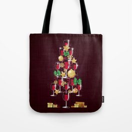 Happy Red Wine Tree Tote Bag