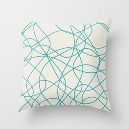 Aqua Teal Turquoise Solid Color Scribbled Lines Abstract Hand Drawn Mosaic Alabaster White - Aquarium SW 6767 Throw Pillow