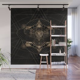 Owl in Sacred Geometry Composition - Black and Gold Wall Mural