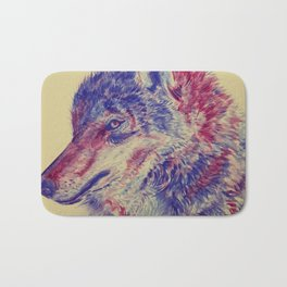 Watercolor Abstract Wolf Portrait Bath Mat