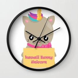 kawaii bunny unicorn Wall Clock