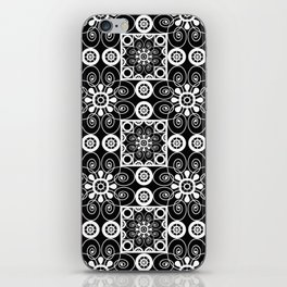Retro .Vintage . Black and white openwork ornament . iPhone Skin