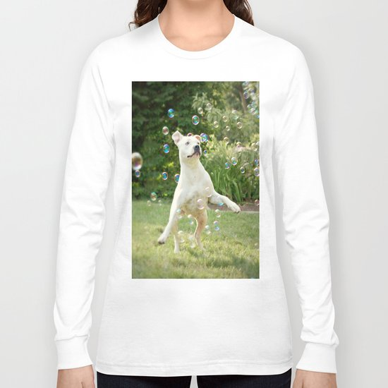Pitbull and Bubbles  Long Sleeve T-shirt