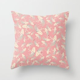 Pattern Artic Wolves in Pink Throw Pillow