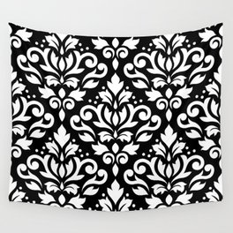 Scroll Damask Large Pattern White on Black Wall Tapestry