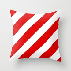 Stripes Diagonal Red & White Throw Pillow
