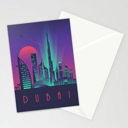 Dubai City Skyline Retro Art Deco Tourism - Night Stationery Cards