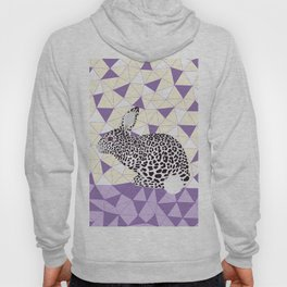 Cute Purple Pastel Rabbit Leopard Pattern Design Hoody
