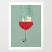 bath Art Prints featuring umbrella bath time! by Yetiland