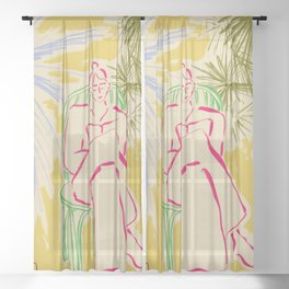READING AMONG PALM TREES Sheer Curtain