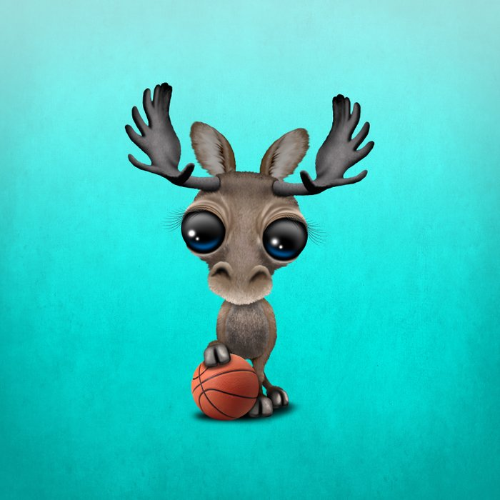 Cute Baby Moose Playing With Basketball Comforters