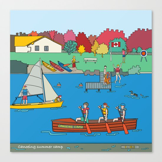 Canoeing Summer Camp Canvas Print