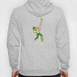 Cricket Player Batsman Batting Front Cartoon Isolated Hoody