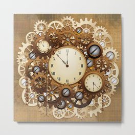 Steampunk Vintage Style Clocks and Gears Metal Print