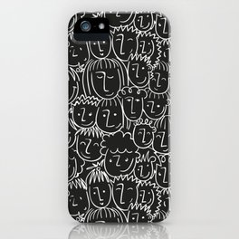 Black & White Hand Drawn People Pattern iPhone Case