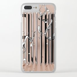"Typography x illustration ""FLIP"" incorporate with abstract lines and flowers' movement Beige Pink Clear iPhone Case"