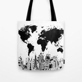 world map city skyline 4 Tote Bag