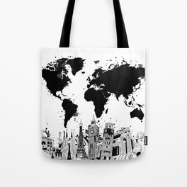 world map city skyline 4 Tote Bag