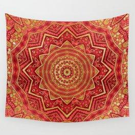 Ruby Red Mandala Wall Tapestry