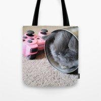 gamer Tote Bags featuring Gamer Bunny by Natasha Alexandra Englehardt