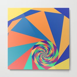 Geometric Fractal Spiral Metal Print