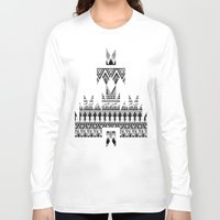 whisky Long Sleeve T-shirts featuring WHISKY AZTEC B/W  by Kiley Victoria