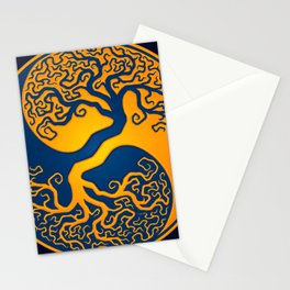 Blue and Yellow Tree of Life Yin Yang Stationery Cards
