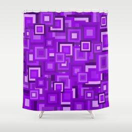 Purple Retro Squares Pattern Shower Curtain