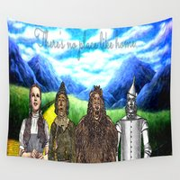 oz Wall Tapestries featuring No Place Like Home Wizard Oz Art by Amber Galore Design