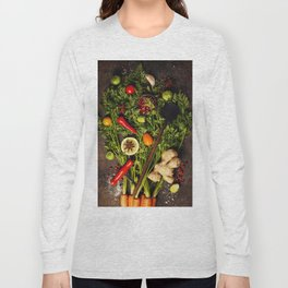 fresh carrots bunch, herbs and spices on dark rustic background Long Sleeve T-shirt