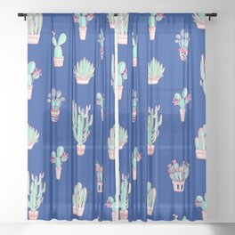 Little cactus pattern - Princess Blue Sheer Curtain