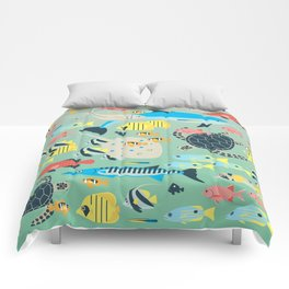 Underwater World with Coral Reef Animals Comforters