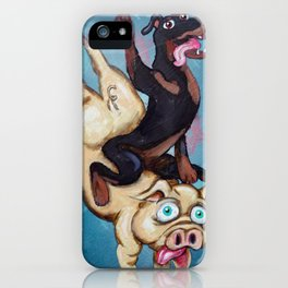 Iggy the Dog Riding the Pig iPhone Case