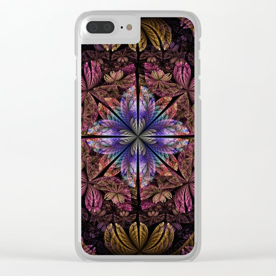 Flowers and petals in a breeze, fractal pattern abstract. Clear iPhone Case