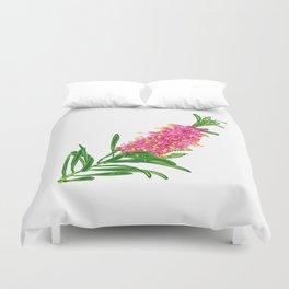Beautiful Pink Australian Native Floral Illustration Duvet Cover