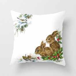 Winter in the forest - Animal Bunny Illustration Throw Pillow