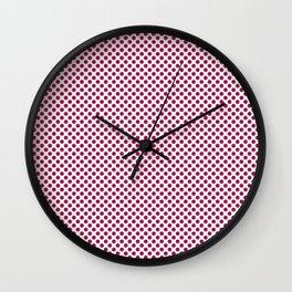 Cerise Polka Dots Wall Clock