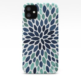 Flower Bloom, Aqua and Navy iPhone Case