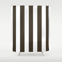 Jacko bean brown - solid color - white vertical lines pattern Shower Curtain